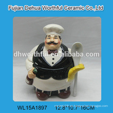 Popular chef de diseño de cerámica potes de condimento, jarras de azúcar de cerámica con cucharas