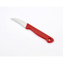 Cuchillo de pelar curvado de la cuchilla del acero inoxidable, cuchillo de la fruta con la manija plástica