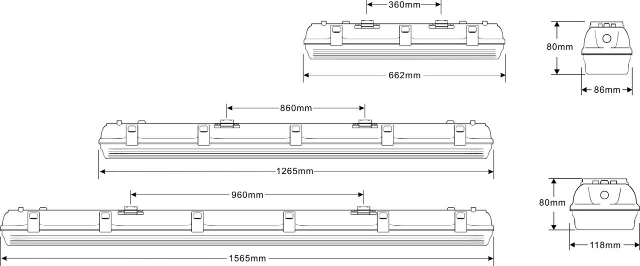 C series led tri-proof light size