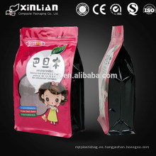 Snack de alimentos bloque de plástico bolsa de cremallera inferior, stand up bolsa