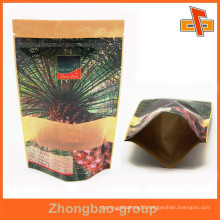 food grade printed kraft paper stand up pouches with zipper top/kraft paper bag/kraft coffee bag