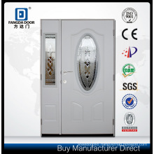 One and Half Exterior Steel Door with Decorative Tempered Glass