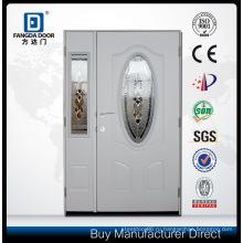 Полтора входная стальная дверь с декоративными закаленное стекло