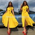Las mujeres calientes de la venta de Aliexpress Amazon visten el color sólido de las mujeres largas del vestido de la fractura del diseño atractivas con la manga corta