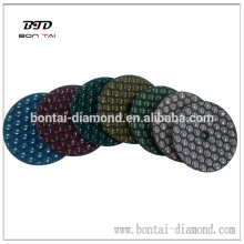 Dry flexible pads for polishing granite and stone