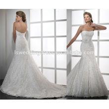 WD0054 off ombro vestido de sereia de organza impresso sem alças com vestidos de casamento de cetim e alta costura
