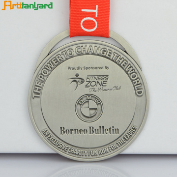 Lastest Sport Metal Silver Medal With Ribbon
