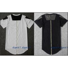 Negro largo de cremallera camiseta Patchwork de cuero