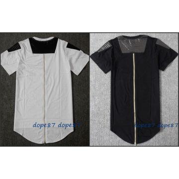 Черная длинная молния T-Shirt Leather Patchwork