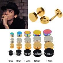 Plaqué coloré Fake Ear Plug Stud Stretcher Ear Tunnel Earring Stainless Steel Body Piercing Jewelry