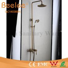 Juego de ducha de latón antiguo con 3 funciones Juego de ducha de lluvia con montaje en pared