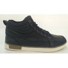 Moda alta top laço-up preto sapatos casuais