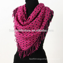Fall Winter 80S Four Sides Self-fringe Square Wool Scarf