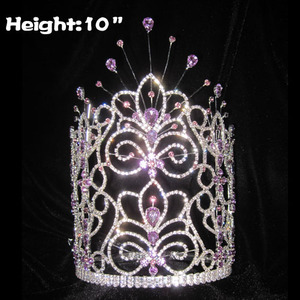 Classic Crystal Pageant Princess Crowns With Purple Diamonds
