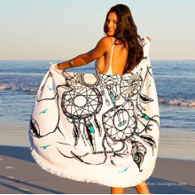 China factory soft textile dreamcatcher design with tassels Round Beach Towel RBT-116