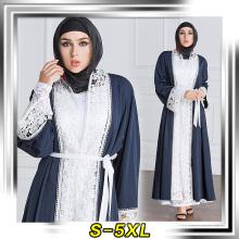 Arbeiten Sie die Art und Weiseentwurfsfabrik um, die Langhülse Maxi des Muslims weiches Polyester weiches verkauft, nähte Spitze abaya 2017