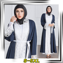 Fashion design factory selling muslim long sleeve maxi dress soft polyester sewed lace abaya 2017