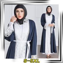 Fábrica de design de moda venda muçulmano manga comprida maxi vestido macio poliéster costurado abaya 2017