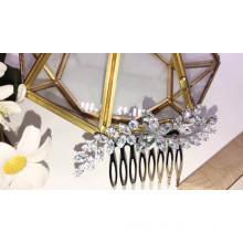 New Design leaf shape big  zircon wedding hair accessories hair comb