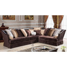 Traditional Chocolate Cloth Camel Back Sectional Sofa for Living Room