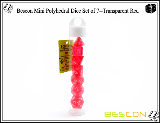 Bescon Mini Polyhedral Dice Set of 7--Transparent Red-7