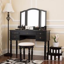 Luxury Modern Glass Furniture 5 Drawer Mirrored Dressing Table Set Stand Mirror Stool black