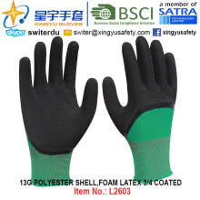 13G Polyester Shell Foam Latex 3/4 beschichtete Handschuhe (L2603) mit CE, En388, En420, Arbeitshandschuhe