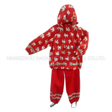 Red Hooded Cartoon PU Regenjacke / Regenmantel