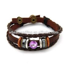 Corde tressée en cuir ethnique couple amour bracelet pour cadeaux de Noël