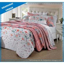 Blumen und Blätter gedruckt Polyester Bettbezug Bettwäsche