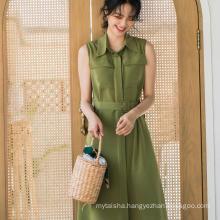 2020 ladies summer new casual elegant sleeveless shirt dress