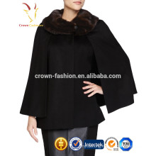 2016 New Arrival High Quality 70% Wool 30% Cashmere Shawl With Raccoon Fur Trim Warp
