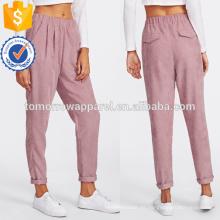 Faux Flap Pocket Back Cord Peg Pants Fabricación Venta al por mayor Moda Mujeres Ropa (TA3080P)