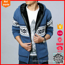 100% Wolle warmer Pelzkragen Mantel Herren Winter Strickjacke