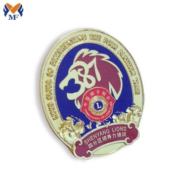 Insigne d'épinglette de lion en métal policier