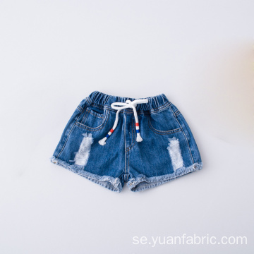 Sommar Mode Ripped Waistband Barn Bomull Denim Shorts