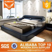 meubles de chambre à coucher de style italien lit en cuir en bois