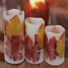 Material de la cera de parafina y velas de forma de pilar llevó