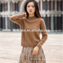 100% Kaschmir Frauen Khaki Farbe Pullover