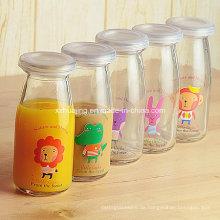 Abziehbild Pudding Milch Glas mit Korken