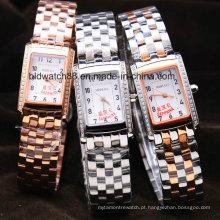 Relógio de pulso de aço inoxidável 3ATM do bracelete da forma das meninas impermeável