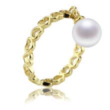 Gold überzogener natürlicher real resizable Perlen-Ring