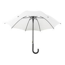 White Fabric Semi-Automatic Double Groove Straight Rod Automatic Long Handle Umbrella