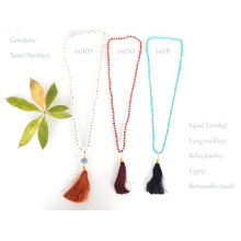 Handmade Knot Crystal Beaded Tassel Bohemian Necklace