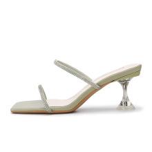 Модные сандалии с ремешком на высоком каблуке с кристаллами 2021