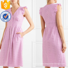 Embroidered Cotton Sleeveless Pink Ruffled V-Neck Summer Dress Manufacture Wholesale Fashion Women Apparel (TA0303D)