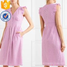 Bordado de algodão sem mangas rosa babados com decote em v vestido de verão manufatura grosso moda feminina vestuário (t0303d)