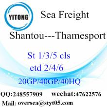 Shantou Port Sea Freight Expédition à Thamesport