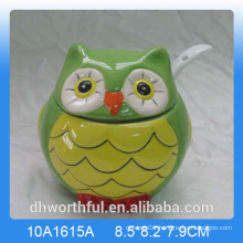Ceramic owl seasoning pot sugar pot for kitchen