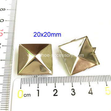 Big Brass Pyramid Stud with Silvery Finish